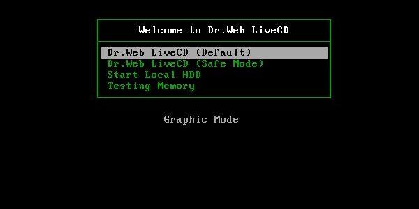 Окно загрузки Dr.Web LiveCD