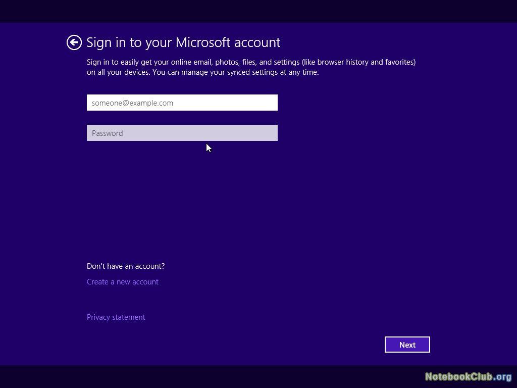 Ввод данных учетной записи Microsoft