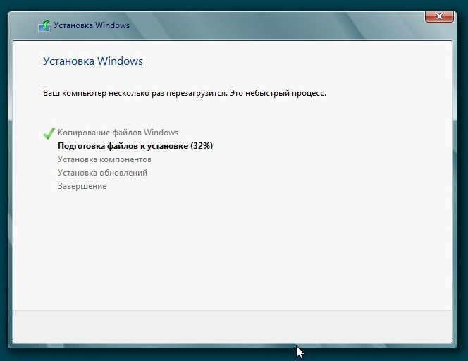 Устанавливается Windows